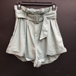 urban outfitters minty blue belted shorts